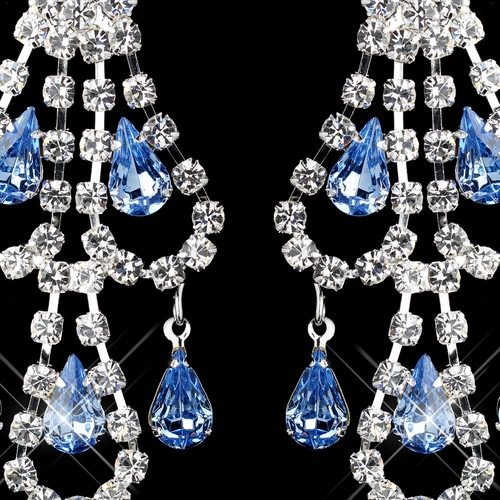 Silver Light Blue & Clear Teardrop Rhinestone Chandelier Earrings 0106