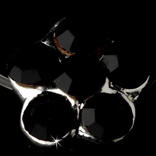 Silver-Black Rhinestone Flower Toe Ring 2