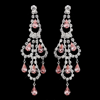 Silver Pink & Clear Teardrop Rhinestone Chandelier Earrings 0106