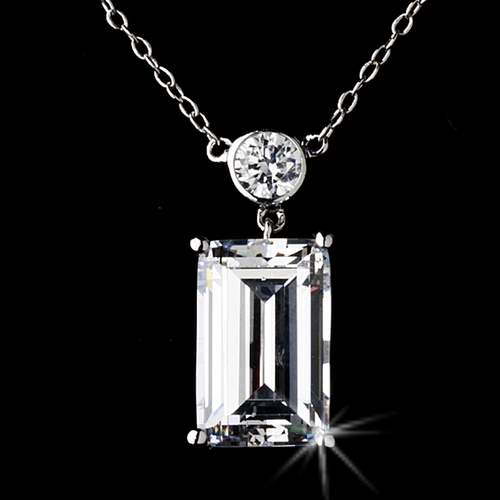 Silver Cubic Zirconia Bridal Pendant Necklace N 8109