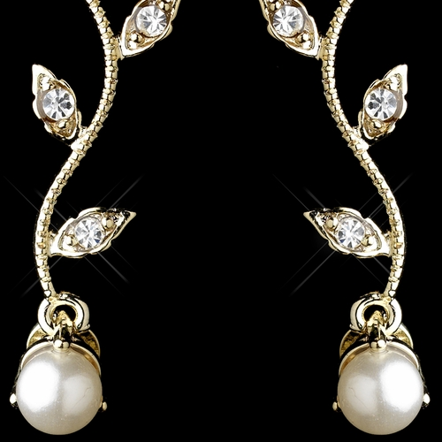 Gold Ivory Pearl & Clear Round CZ Crystal Vine Drop Earrings 0112