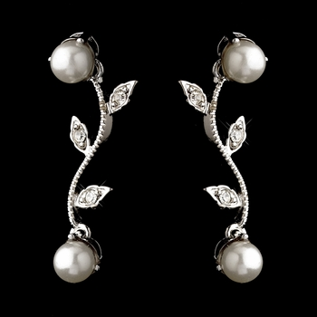 Silver White Pearl & Round CZ Crystal Vine Drop Earrings 0112