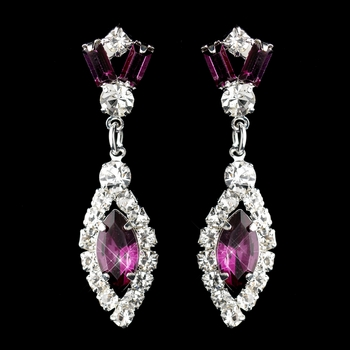 Silver Amethyst & Clear Marquise Baguette Round Rhinestone Drop Earrings 0124