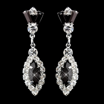 Silver Black & Clear Marquise Baguette Round Rhinestone Drop Earrings 0124
