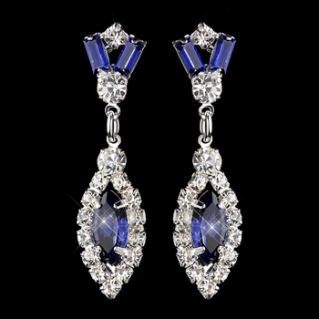 Silver Navy & Clear Marquise Baguette Round Rhinestone Drop Earrings 0124