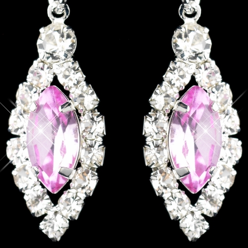 Silver Pink & Clear Marquise Baguette Round Rhinestone Drop Earrings 0124