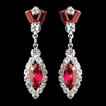 Silver Red & Clear Marquise Baguette Round Rhinestone Drop Earrings 0124