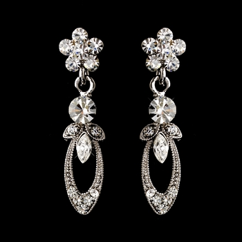 Antique Silver Rhodium Clear Marquise & Round Rhinestone Drop Earrings 0314