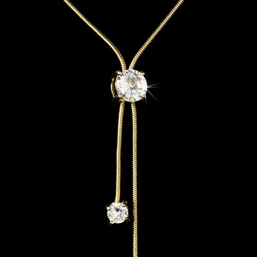 Glamorous Gold Clear CZ Bolo Style Necklace 3386***Only 4 Left***
