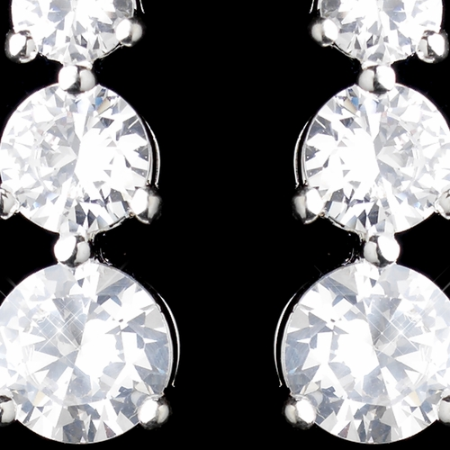 Silver Clear Three Round CZ Crystal Drop Earrings 0532