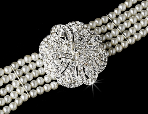 Bridal 5 Row Choker Pearl Necklace N 600 Silver White or Ivory ** Discontinued**