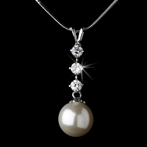 Elegance Three Stone Drop with Pearl Necklace N 3626