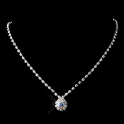 Silver AB & Clear Round Rhinestone Necklace 0511