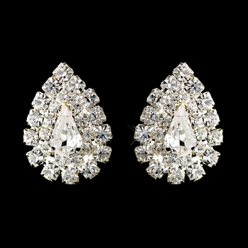 Silver Clear Teardrop Rhinestone Stud Earrings 1002