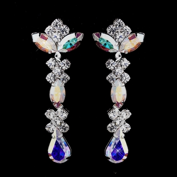 Silver AB & Clear Round, Marquise, Teardrop Earrings 1007