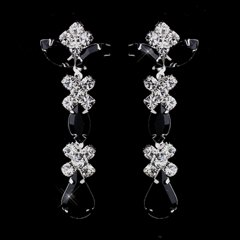 Silver Black & Clear Round, Marquise, Teardrop Earrings 1007