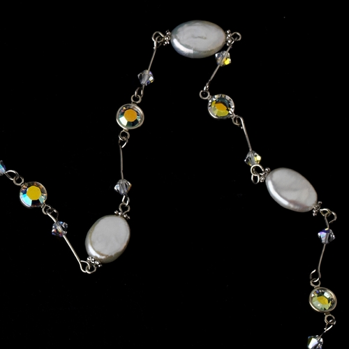 Freshwater Pearl and Swarovski Crystal Necklace N 8207 AB