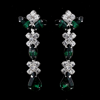 Silver Emerald & Clear Round, Marquise, Teardrop Earrings 1007