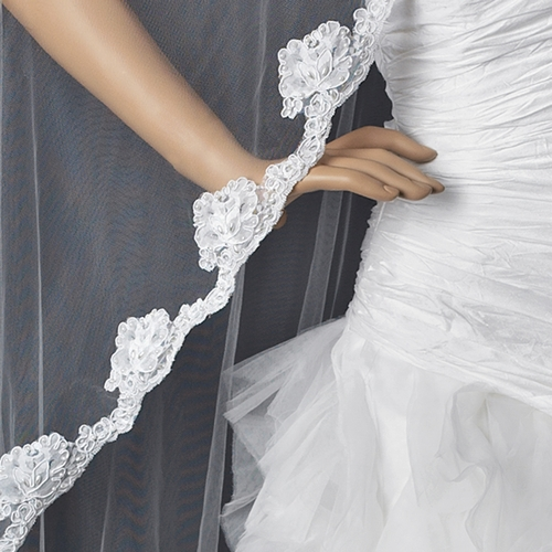 Single Layer Waltz Length Mantilla Veil with Floral Pearl Embroidery Edge V 2014 1W