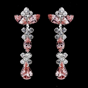 Silver Pink & Clear Round, Marquise, Teardrop Earrings 1007