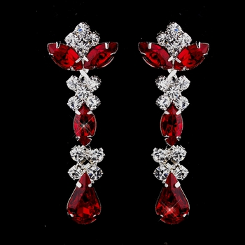 Silver Red & Clear Round, Marquise, Teardrop Earrings 1007