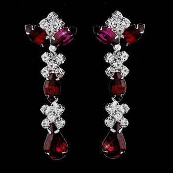 Silver Ruby & Clear Round, Marquise, Teardrop Earrings 1007