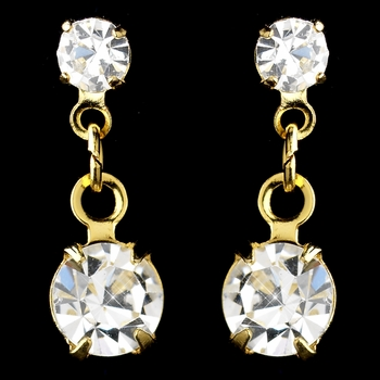 Gold Clear Rhinestone Drop Earrings 1020