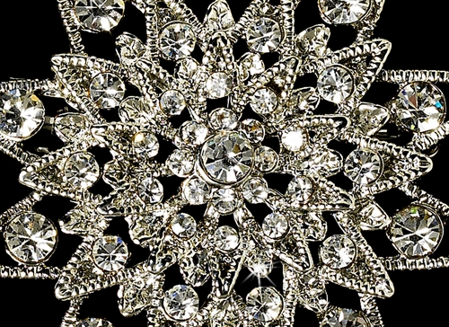 Elegant Vintage Crystal Bridal Pin for Hair or Gown Brooch 22 Antique Silver and Rhinestone