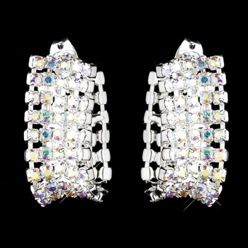 5-Row Convex Silver AB Rhinestone Hoop Earrings 1168