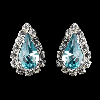 Silver Aqua & Clear Teardrop Stud Earrings 1361