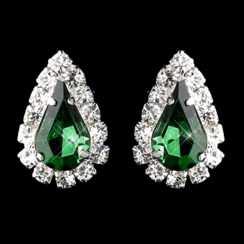 Silver Emerald & Clear Teardrop Stud Earrings 1361