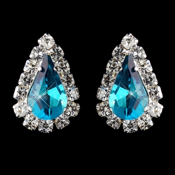 Silver Teal & Clear Teardrop Stud Earrings 1361