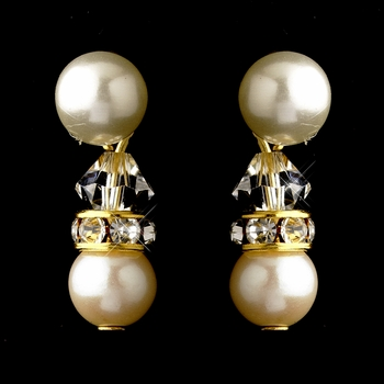 Gold Ivory Pearls & Clear Swarovski Crystal Rondelle Rhinestones Clipped Earrings 1402