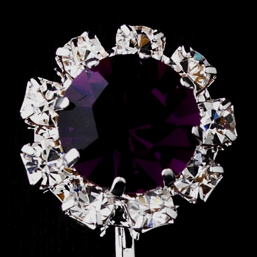 Silver Amethyst & Clear Round Rhinestone Clipped Stud Earrings 1442