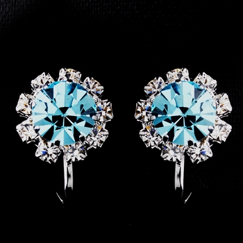 Silver Aqua & Clear Round Rhinestone Clipped Stud Earrings 1442