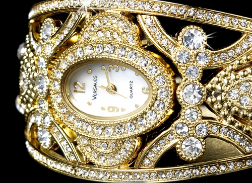 Gold or Silver Rhinestone Crystal Bridal Watch 10