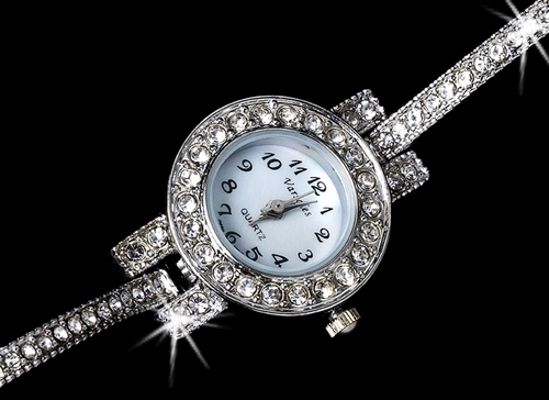 Rhinestone Crystal Bridal Watch 19 Silver