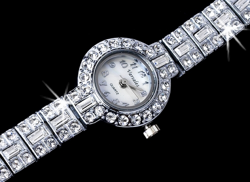 Rhinestone Crystal Bridal Watch 17 Silver