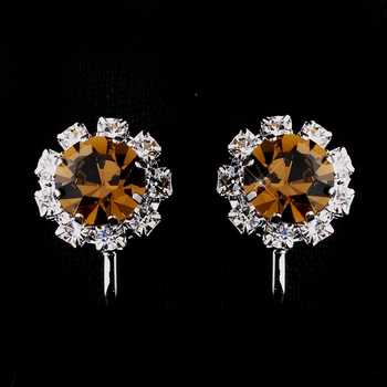 Silver Brown & Clear Round Rhinestone Clipped Stud Earrings 1442