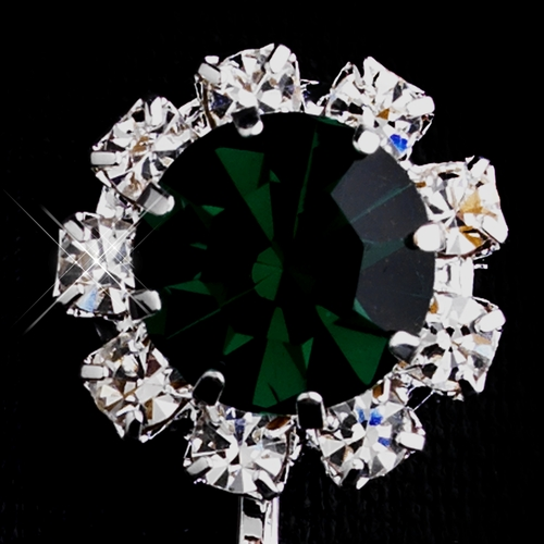 Silver Emerald & Clear Round Rhinestone Clipped Stud Earrings 1442