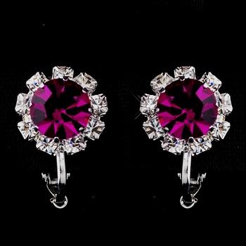 Silver Fuchsia & Clear Round Rhinestone Clipped Stud Earrings 1442
