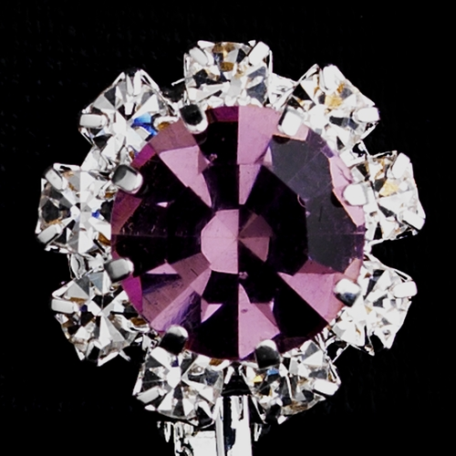 Silver Light Amethyst & Clear Round Rhinestone Pierced Stud Earrings 1442