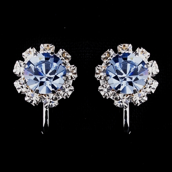 Silver Light Blue & Clear Round Rhinestone Clipped Stud Earrings 1442