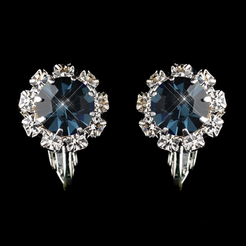 Silver Navy & Clear Round Rhinestone Clipped Stud Earrings 1442