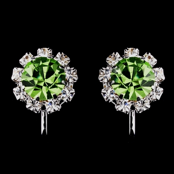 Silver Peridot & Clear Round Rhinestone Clipped Stud Earrings 1442