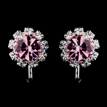 Silver Pink & Clear Round Rhinestone Pierced Stud Earrings 1442