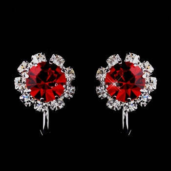 Silver Red & Clear Round Rhinestone Clipped Stud Earrings 1442