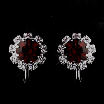 Silver Ruby & Clear Round Rhinestone Clipped Stud Earrings 1442