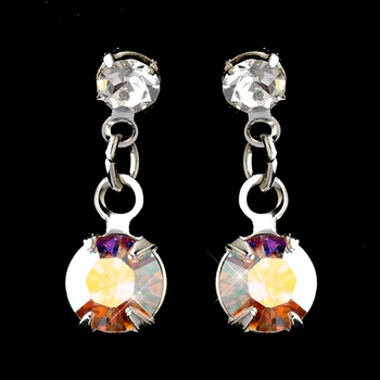 Silver AB & Clear Round Drop Earrings 1461