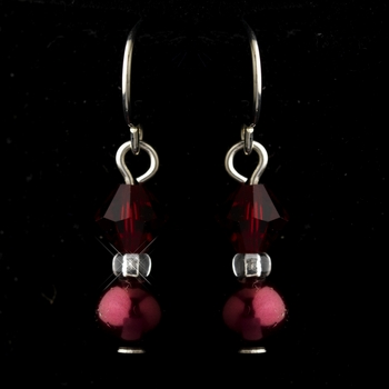 Silver Burgundy Czech Glass Pearl & Swarovski Crystal Bead Earrings 2031***Discontinued***